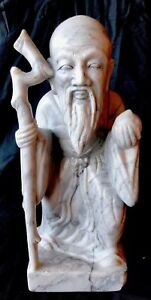 Chinese Hand Carved Stone Figure Large Shou Lao Statue Rare