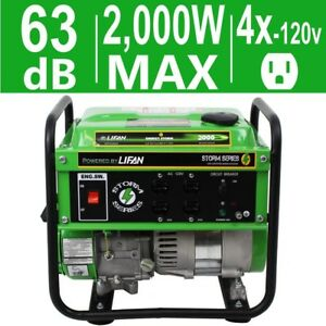Lifan 1600w Quiet Portable Gas Powered Generator Home Backup Rv Camping Tailgate