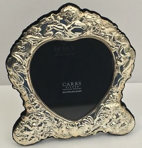 Carrs 925 Sterling Silver Heart Picture Frame Sheffield England Cherub