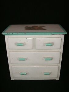 Vintage 4 Drawer Salesman Sample Wood Dresser Jewelry Chest Cottage Chic