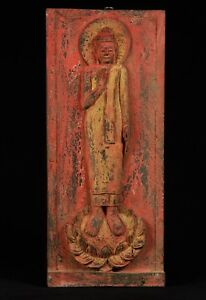 Antique Thai Style Wood Standing Protection Monday Buddha Panel 57cm 23