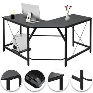 L shaped Corner Computer Desk Home Office Pc Wood Powder coated Easy Install