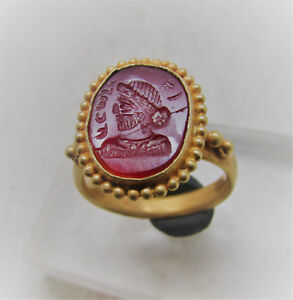Ancient Sasanian High Carat Gold Ring High Status Jewelery Carnelian Intaglio