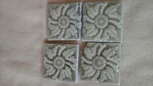5 Victorian Old Bridge Tile 3 X3 Ceramic Art Tiles 2 Nos Sage Olive Floral