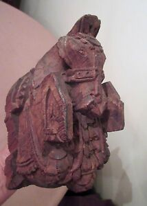 Antique Ornate Hand Carved Wood Stylized Horse Figural Wall Sculpture Statue