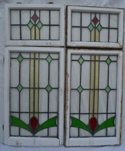 4 Set Leaded Light Stained Glass Window Panels R804 Worldwide Delivery