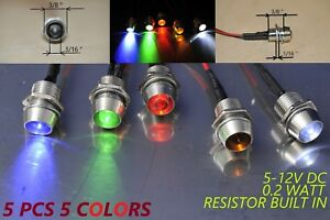 12 Volt Indicator Lights Panel Led Dash Motorcycle Pilot Signal Bulb 5mm 5colors