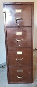 Vintage Shaw Walker 1 Hr Fireproof 4 Drawer File Cabinet