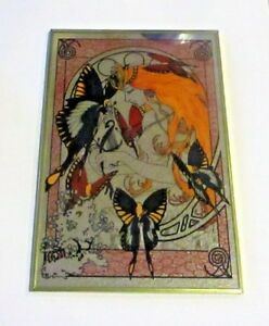 Vintage Art Nouveau Mirror Fairy Queen After Alphonse Mucha Japan Butterflies