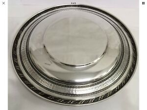 Antique Sterling Silver 4056 3 Repousse Pierced 9 Dinner Plate 203 7 Gms