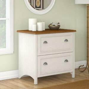 Bush Furniture Stanford 2 Drawer Lateral File Cabinet In Antique White And Te