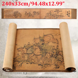 Hot Chinese Silk Paper Painting Three Heroes Fought Against Lvbu Scroll Painting
