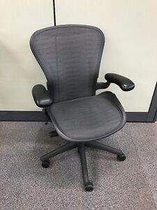 Herman Miller Aeron Size B Pneumatic Height Tilt Tension Great Condition
