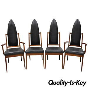 4 Tall Point Back Walnut Mid Century Modern Dining Chairs After Adrian Pearsall