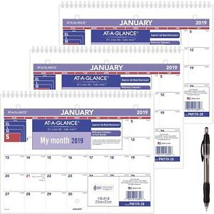 At a glance Pm17028 18 Monthly Desk wall Calendar January 2019 December