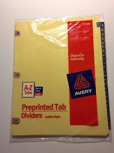 Avery Black Leather Copper Reinforced 3 ring Binder A z Dividers 25180 11350
