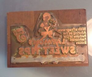 Antique Advertising laymon s Cigars Letterpress Printer Block Copper And Wood
