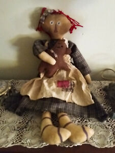 Primitive Grungy Raggedy Ann Doll With Teddy Bear