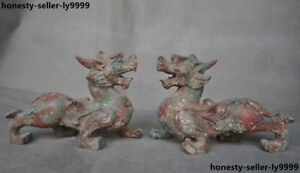 Antique Chinese Dynasty Bronze Ware Brave Troops Pixiu Beast Mascot Statue Pair