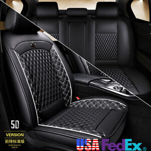 Pu Leather Car Seat Covers For Auto Suv Truck Front Rear Black White Universal
