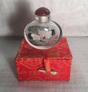 Vintage Chinese Reverse Painted Glass Snuff Bottle 2 Scenes Birds Cranes In Box