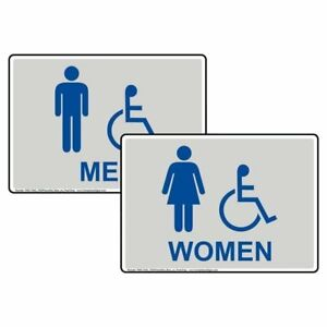 Compliancesigns Accessible Men Women Aluminum Restroom Signs Set 14 X 10