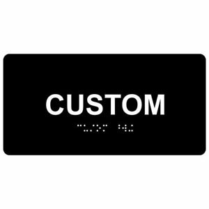 Ada compliant Custom Braille Sign With Tactile Letters 8x2 Inch White On Black