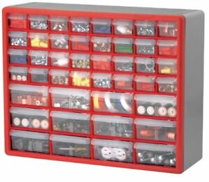 Akro Mils 10744 44 drawer Hardware And Craft Cabinet Red And Gray