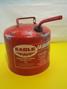 Vtg Gas Can Eagle 5 Gal Galvanized Metal Gasoline Sp5 Vent Screened Spout Clean