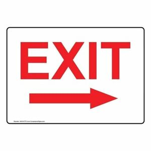 Exit with Right Arrow Glow in dark Sign With Symbol 14x10 In Aluminum