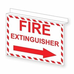 Fire Extinguisher right Arrow Sign 14x10 In Ceiling mount Glow in dark