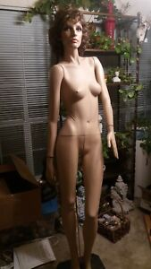 Vintage Female Full Body Realistic Mannequin With Base 6 Ft Tall