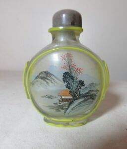 Antique Handmade Chinese Peking Glass Carved Stone Reverse Painted Snuff Bottle