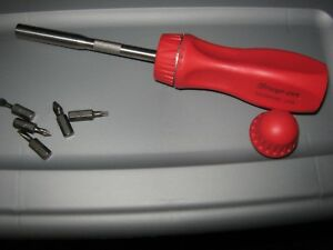 New Snap On Red Ratcheting Screwdriver With 5 Bits Ssdmr4br