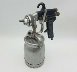 Vintage Binks Mfg Co Automotive Paint Spray Gun W Can Reservoir Canister Used