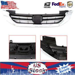 Fits Honda Accord 2013 15 Radiator Grille Front Bumper Upper Chrome Grill Abs