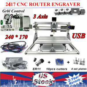 Mini Usb Cnc2417 Router Engraver Kit Diy Wood Pcb Milling Machine Desktop New