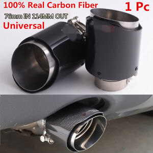 3 76mm Carbon Fiber Exhaust Tips Muffler Stainless Steel Pipe 1pcs Universal