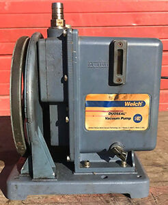 Welch Duoseal 1402 Rotary Vane Vacuum Pump Emerson 1 2hp 1725 Motor Watch Video