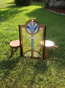 Vintage Art Deco Stained Glass Rectangular With Centered Deco Accented Circle
