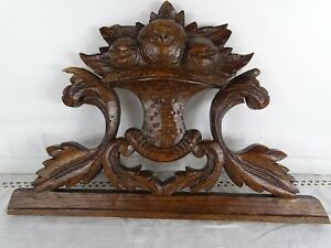 12 French Antique Pediment Crest In Solid Oak Salvage Fruits