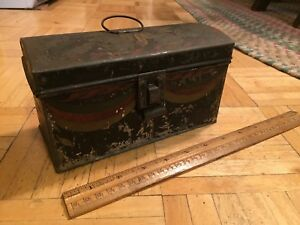 Early 19th Century Tin Toleware Document Box W Domed Lid Orig Paint Decoration