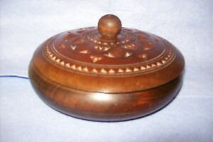 A Vintage Treen Wooden Bowl With Lid