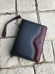 Franklin Covey Brown Black Planner Full Grain Leather Calfskin Organizer Zipper