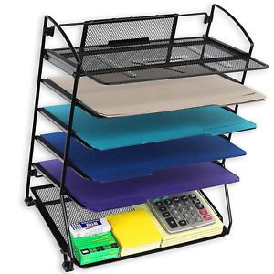 Desktop File Holder Desk Metal Organizer Wire Mesh Sorter Office Shelf 6 Trays