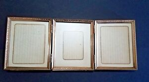 Vintage Hinged Trifold Goldtone Embossed Metal Picture Frames 4 X5
