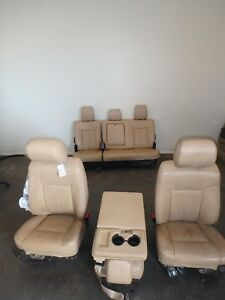2011 2016 Ford F250 F350 Superduty Front Rear Seat Set Tan Leather Heated Cooled