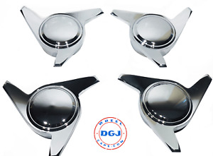 3 Bar Smooth Chrome Knock off Spinner Caps For Lowrider Wire Wheels m