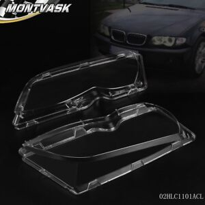 Pair Front Left Right Headlight Lens Plastic For Bmw E46 3 series 4dr 02 05