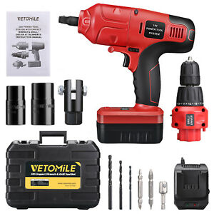 18v Cordless Impact Wrench Drill Driver Home Tool Set 1 5ah Rechargeable Battery